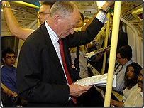 London Mayor Ken Livingstone on a tube train on Monday 11 July