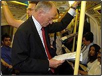 London Mayor Ken Livingstone on a tube train on Monday 11 July