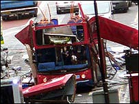 London bus after explosion