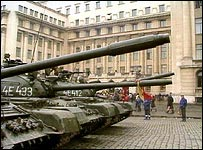 Romanian army tanks in Bucharest during the 1989 revolution