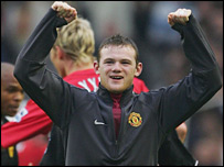 Wayne Rooney celebrates at Anfield