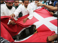 Indonesian Muslim protesters burn a Danish flag
