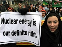 Young women protesters at a nuclear rally in Tehran, Iran