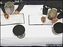 Books being signed