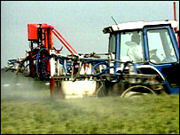 Tractor crop-spraying (BBC)