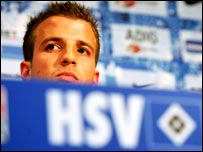 Rafael van der Vaart at his official presentation at Hamburg