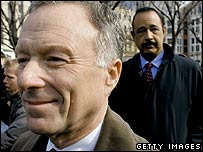 Lewis Libby arrives at a hearing in Washington in April