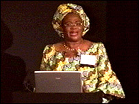 Dr Dora Akunyili speaking at the conference in Paris