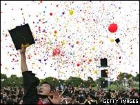 Student celebrates