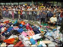 Bags abandoned in the crush outside Manila stadium