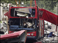 The bombed bus in Tavistock Square after the 7 July attacks