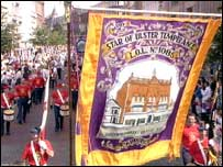 Orange lodge banner at the parade in Belfast city centre