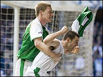 Ivan Sproule and Garry O'Connor celebrate at Ibrox