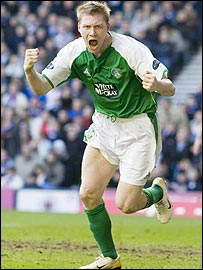 Garry O'Connor celebrates giving Hibs the lead at Ibrox