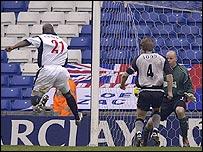 West Brom striker Kevin Campbell scores the opener against Blackburn at The Hawthorns