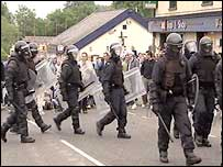 Riot police in Dunloy