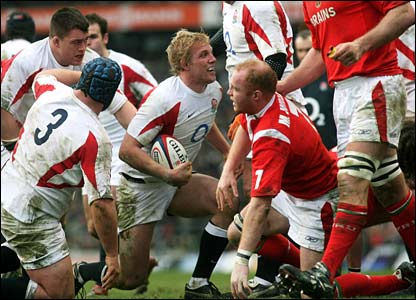 Lewis Moody gets to his feet after scoring England's second try