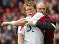 Josh Lewsey is treated before leaving the field on Saturday