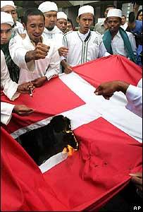 Musulmanes indonesios a punto de quemar una bandera danesa.