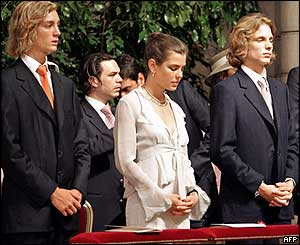 (From left to right) Pierre Casiraghi, Charlotte Casiraghi and Andrea Casiraghi