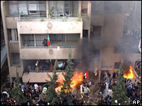 Danish embassy in Damascus ablaze