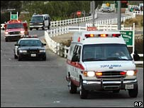Ambulance and fire department vehicles at Pitchess