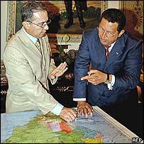 Colombian President Alvaro Uribe with Venezuelan President Hugo Chavez