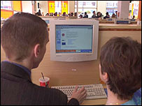Users at an internet cafe
