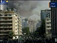 Smoke billows from the Danish embassy in Beirut in images from local station LBC