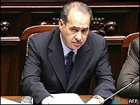 Interior Minister Giuseppe Pisanu after his speech in parliament