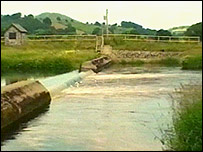 A weir on the River Tryweryn