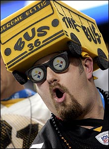 Ford field is awash with the black and gold of the Pittsburgh Steeler fans, who massively outnumber their Seahawk rivals