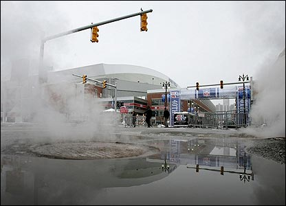 Steam rises in Detroit