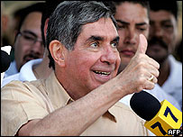 Presidential candidate Oscar Arias after casting his vote in Pavas, near San Jose