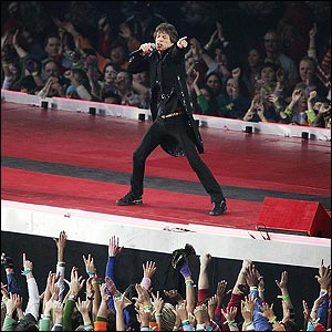 It falls to rock legend Mick Jagger and his Rolling Stones to provide some spectacular half-time entertainment