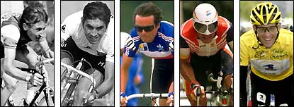 (From left to right) Jacques Anquetil, Eddy Merckx, Bernard Hinault, Miguel Indurain and Lance Armstrong