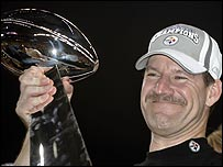 Coach Bill Cowher ends a 14-year wait for Super Bowl honours