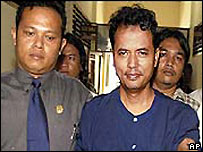 Mas Selamat Kastari on his arrest in Indonesia in 2003