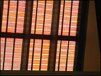 Window covered in solar cells.  Image: BBC