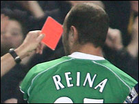 Liverpool goalkeeper Jose Reina receives a red card at Chelsea