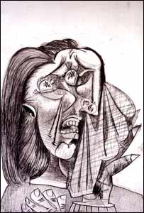 Picasso's etching, Woman Weeping 1