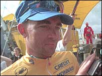 Sean Yates in the Tour's yellow jersey in 1994