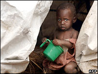 A child in a refugee camp in Dubiye, in DR Congo's Katanga province