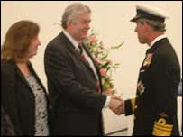 Rhodri Morgan and wife Julie meeting Prince Charles earlier this week