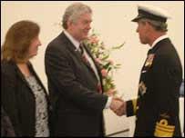 Rhodri Morgan and wife Julie meeting Prince Charles earlier this week