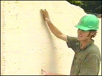 Builder James Bellamy with a chalk wall