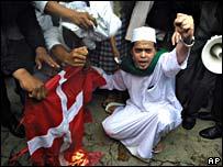 Anti-Danish demos in front of the Danish consulate in Surabaya, Indonesia