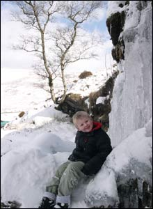 John Gaskin sent in this shot of his five-year-old son by a frozen waterfall in the Brecon Beacons