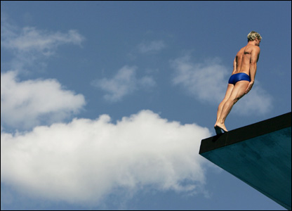 Britain's Leon Taylor prepares to make a platform dive