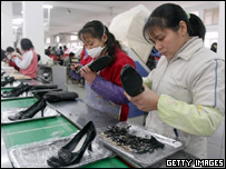 Workers at a Chinese factory